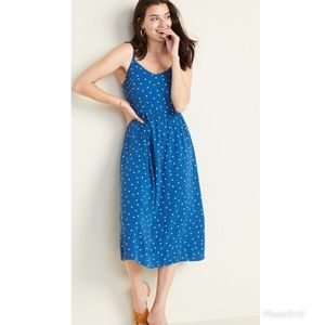 OLD NAVY Cami Midi Dress Blue White Polka Dot NWT